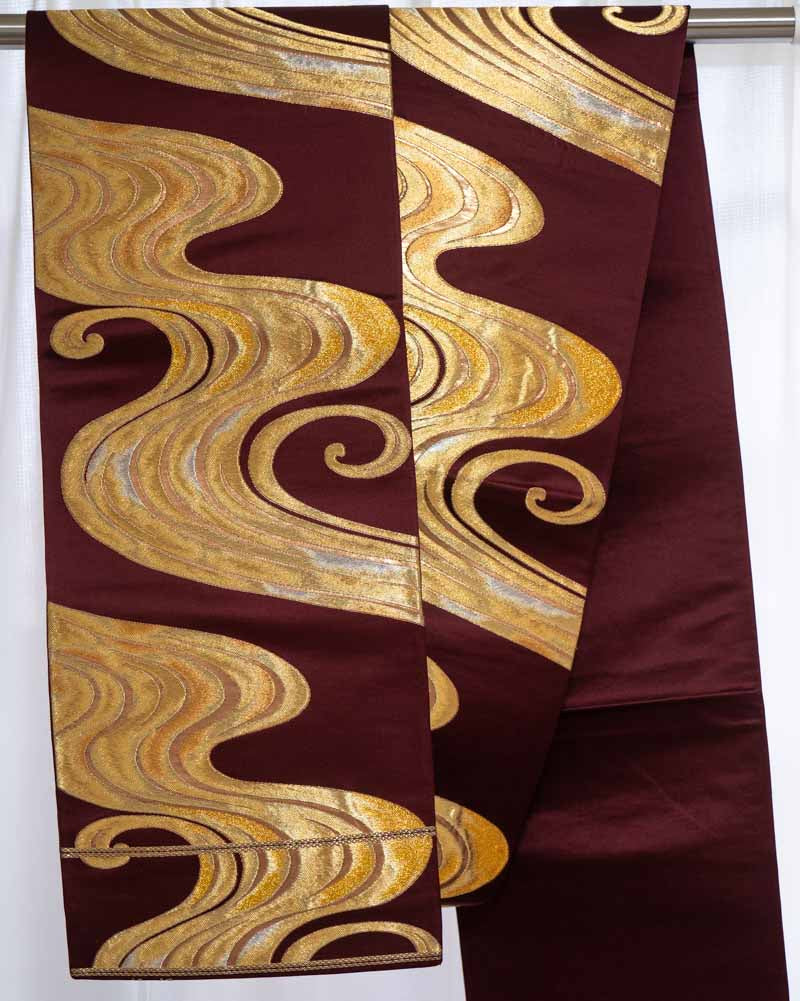 Gold Embroidered Waves Maroon Stiff Vintage Silk Obi