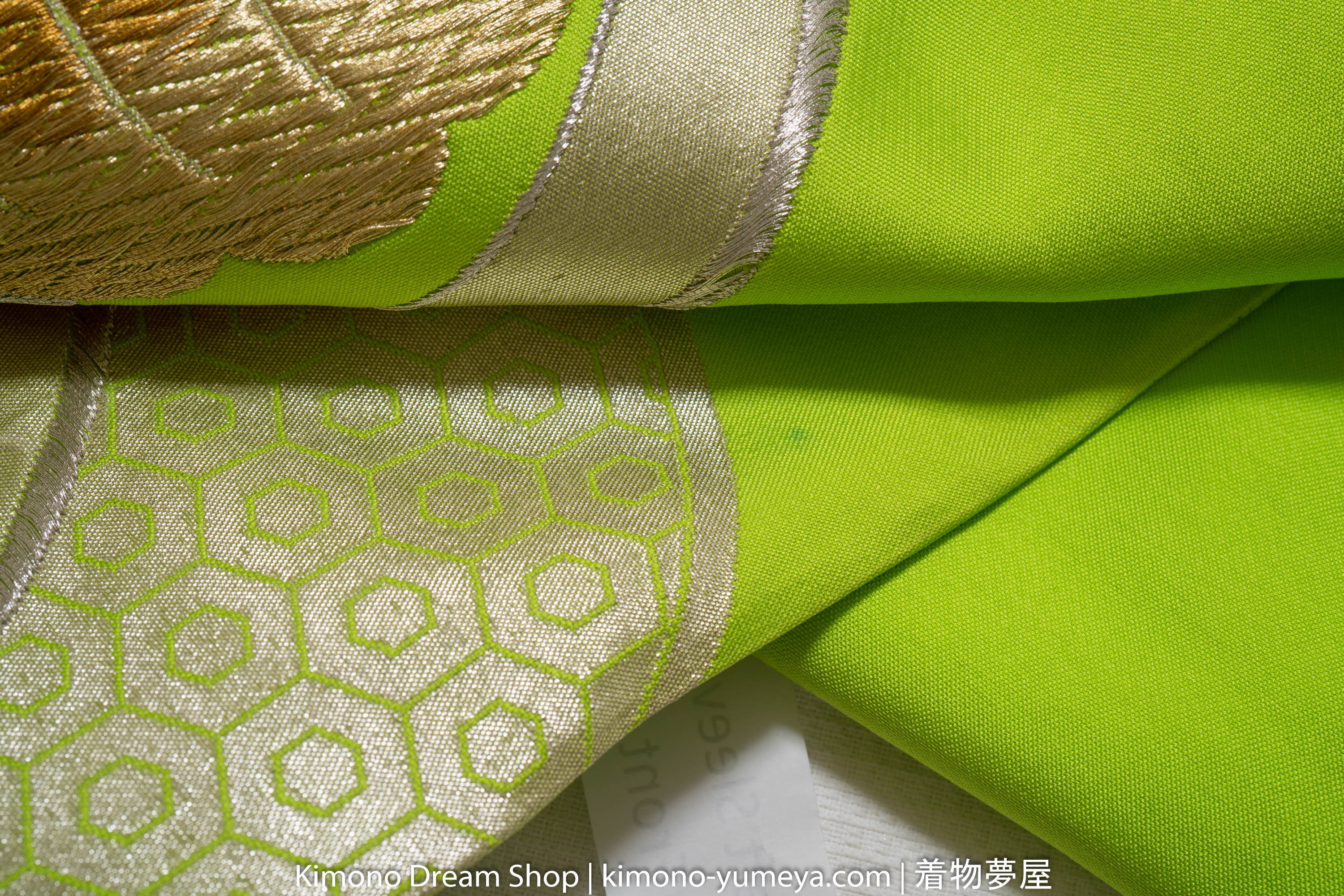 Green Embroidered Geometric Fukuro Obi - Chrysanthemums Golden Accenting
