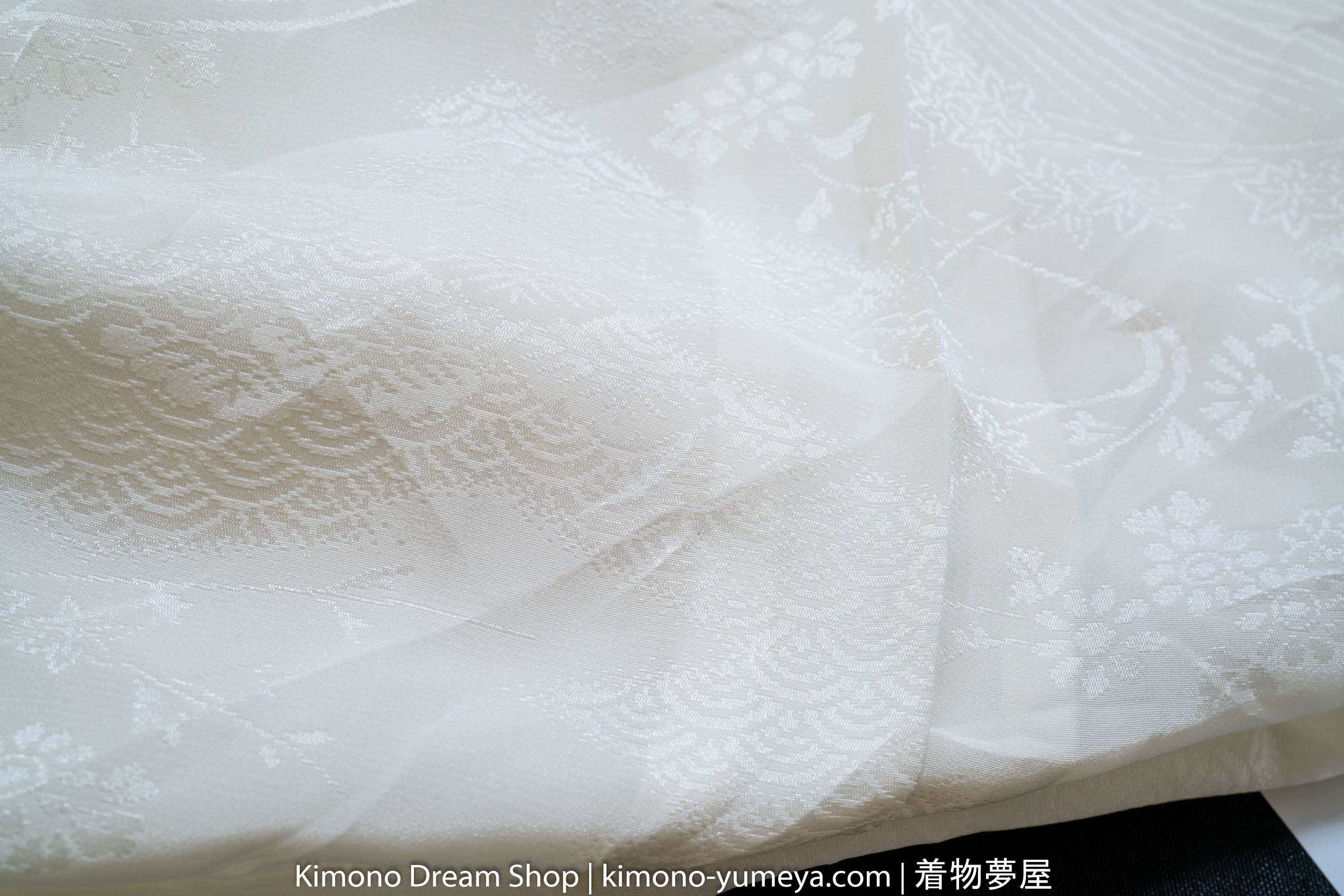 Waves Small Flower Patterns Off White Polyester Juban - Polyester Women's Kimono Underwear