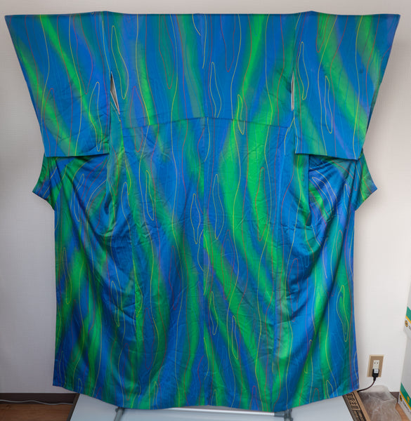 Very Retro 1980s Vintage Silk Kimono - Blue and Green with Abstract Yellow and Red Lines