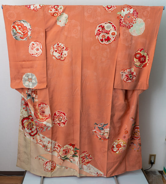 1960s Silk Small Furisode - Traditional Hand-Painted Flowers on a Pinkish-Orangish