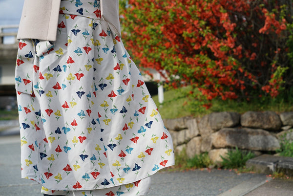 Upcycled Kimono Wrap Skirt - Blue, Yellow, Red Flowers on Silver Fabric Tokyo Streetwear
