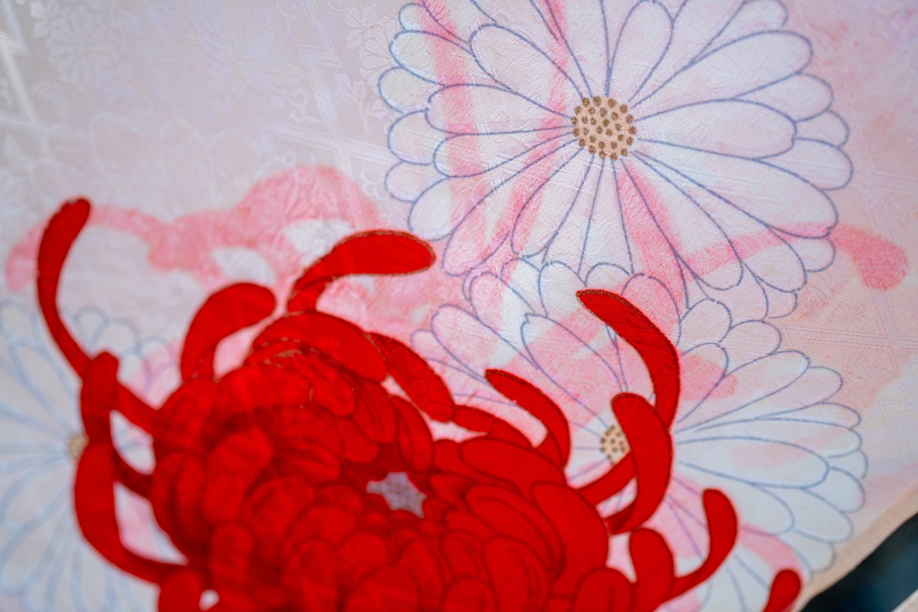 Long Chrysanthemum Flowers Noren - Red and White Flowers and Red Shadow - Polyester Kimono