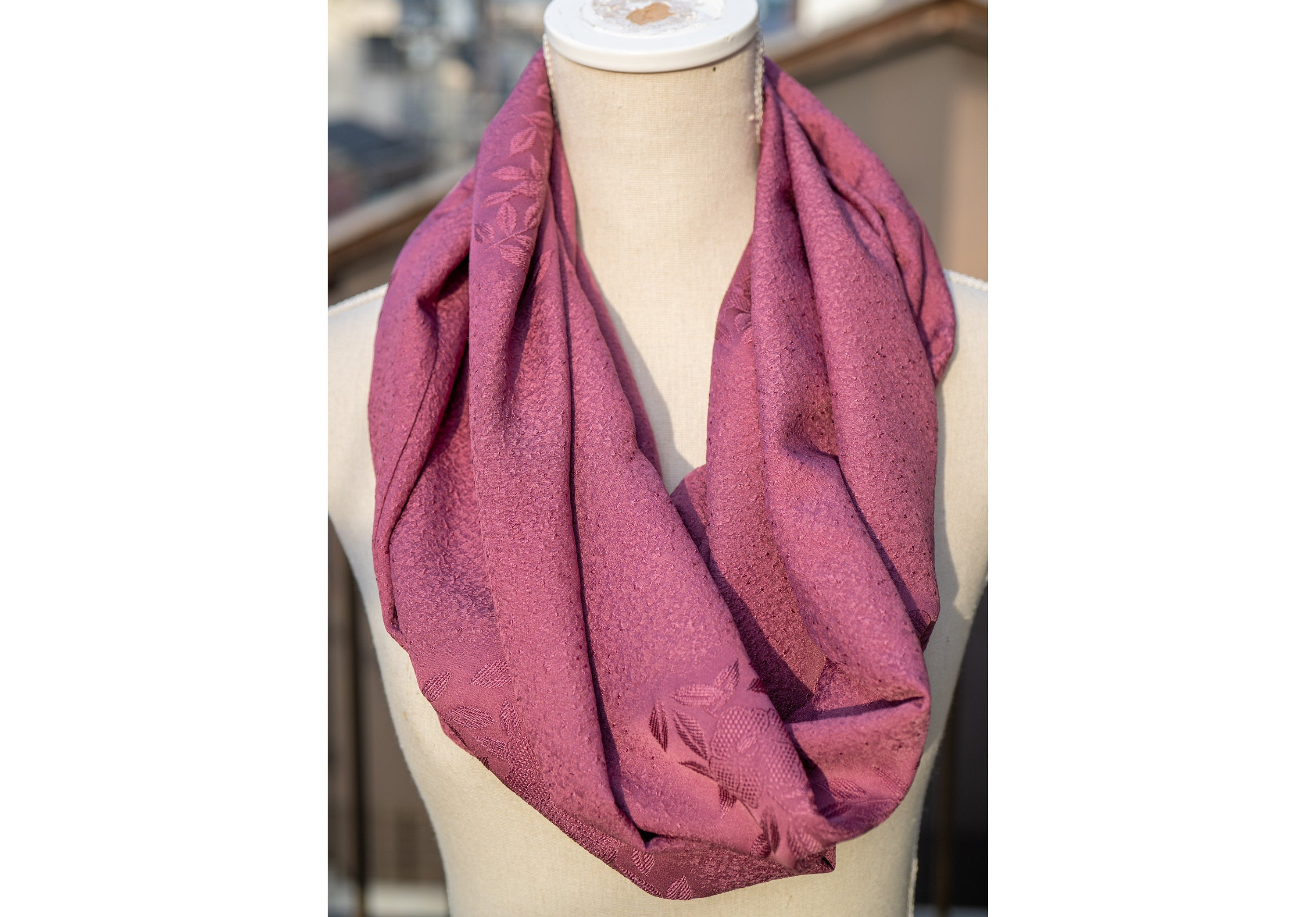 Silk Purple Flower Pattern Infinity Scarf - Made from Vintage Kimono Bolt - Flower Patterns