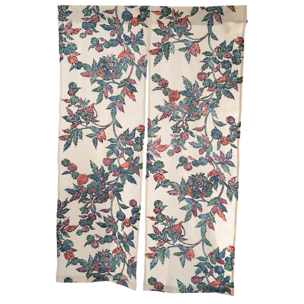 Upcycled Kimono Silk Tan Noren - Flowers Vintage Entrance Partition | Doorway Tapestry