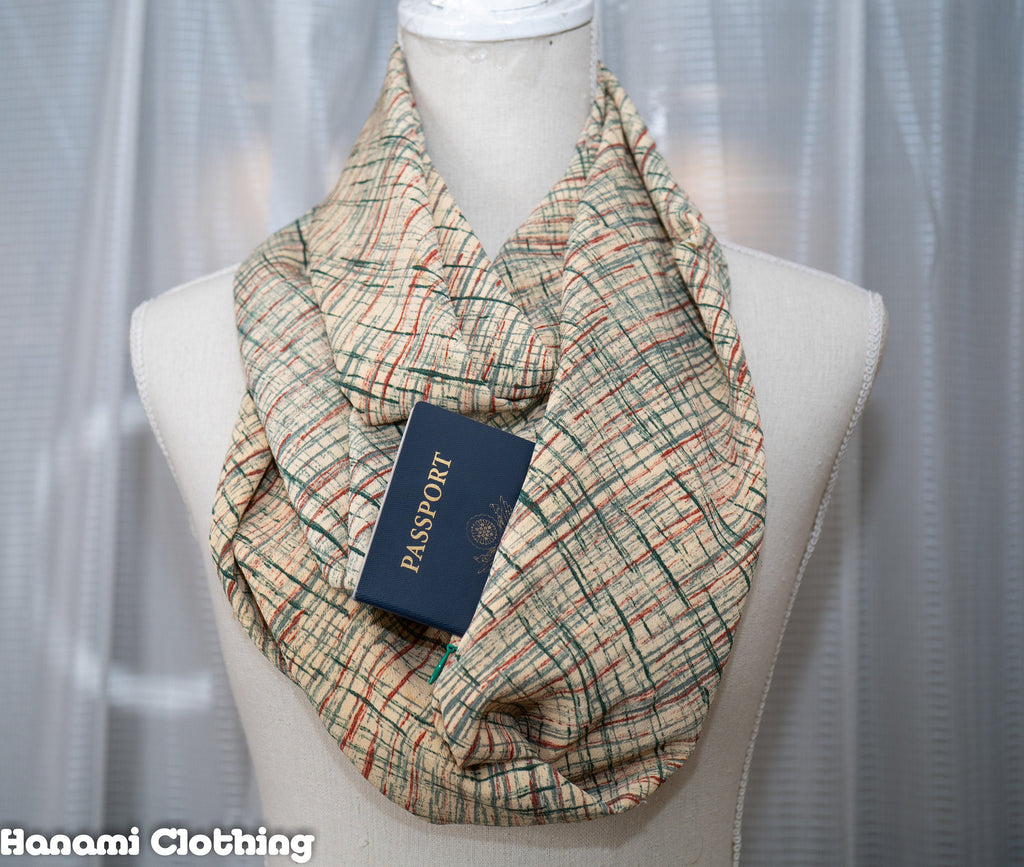 Autumn Kimono Infinity Scarf with Hidden Pocket - Beige with Green and Red Lines - Kyoto Style