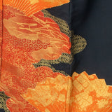 Unused Silk Tomesode - Traditional Fans, with Various Patterns inside Clouds - Orange, Red, and Gold