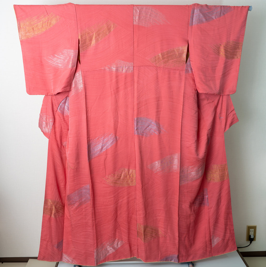 Shiny Silver and Gold Fans on Pink - Vintage 1980s Kimono Retro Style Traditional Patterns Femme