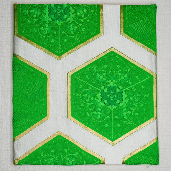 Obi Art Wall Panel - Green White Hexagons Kikko Tortoise Shell Upcycled Wall Hanging Tapestry
