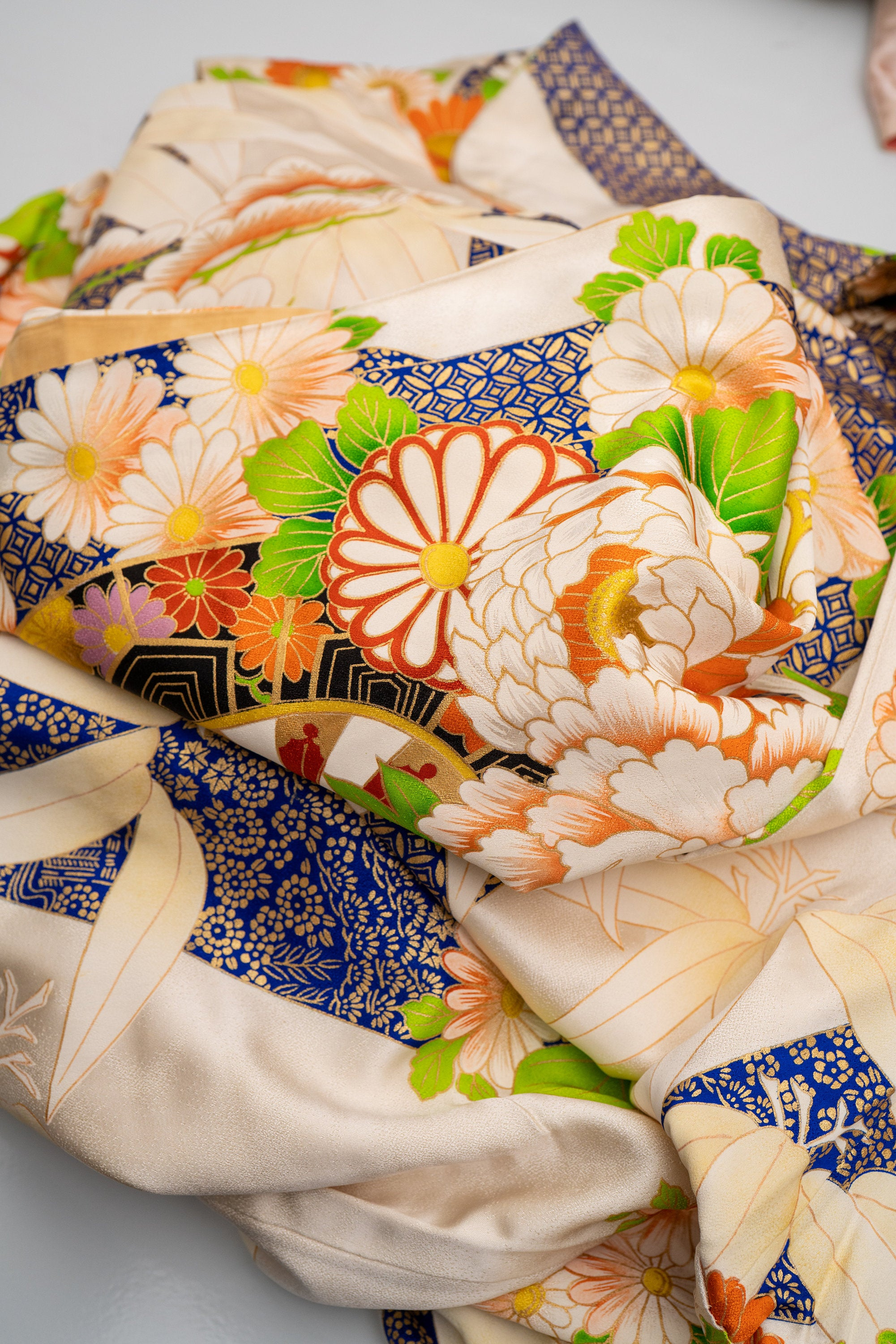 Gorgeous Floral Silk Furisode - Shippo Pattern Bamboo Leaves Traditional Circles Colorful Flowers