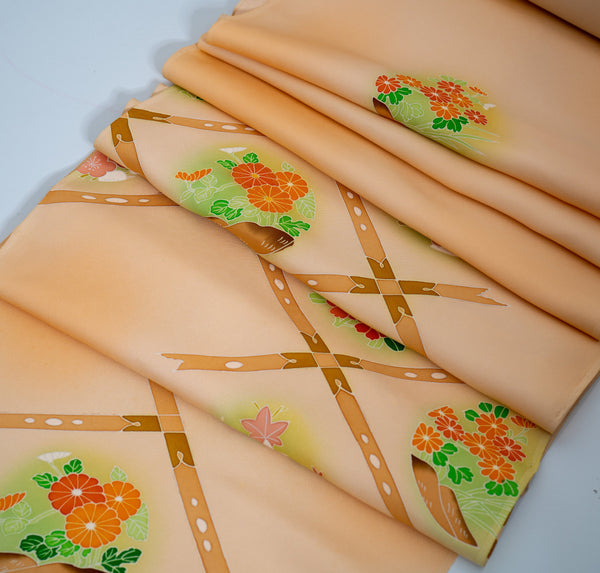 Vintage Kimono Floral Boxed Square Fabric Bolt - Beige with Red Orange Chrysanthemum Flowers