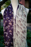 Reversible Hidden Pocket Infinity Scarf made from Vintage Silk Kimonos Purple with Gold Butterflies
