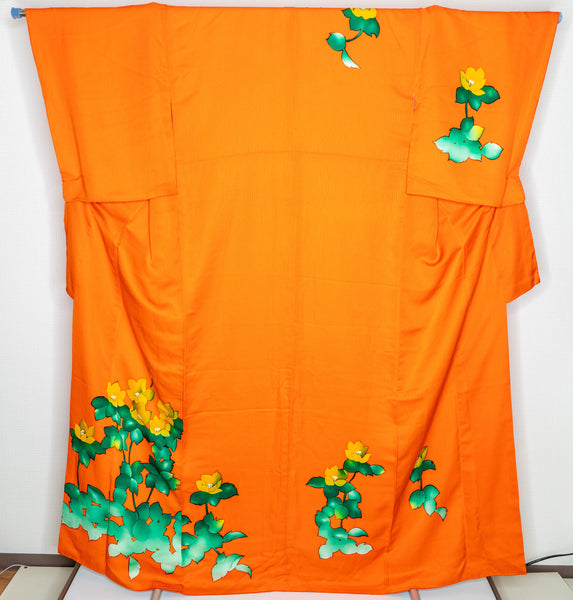 Neon Orange Homongi Formal Japanese Women's Kimono Green Leaves Yellow Flowers