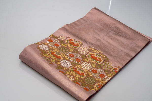 Shiny Pink Nagoya Obi - Modern Patterns Traditional Japanese Kimono Belt - Hexagons Embroidered