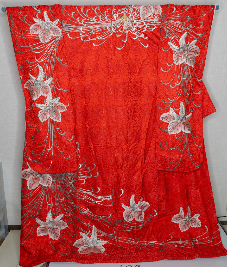 Vintage Red Uchikake Wedding Kimono Long Heavy Silk Japanese Bridal Dress Gown Bride