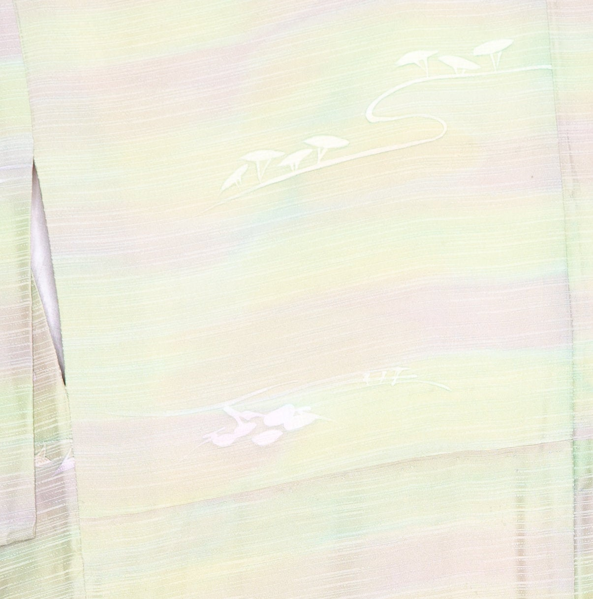 Simple Multicolored Hazy Kimono - Outdoors Scenery Plants Trees Leaves - Japanese Women's Silk