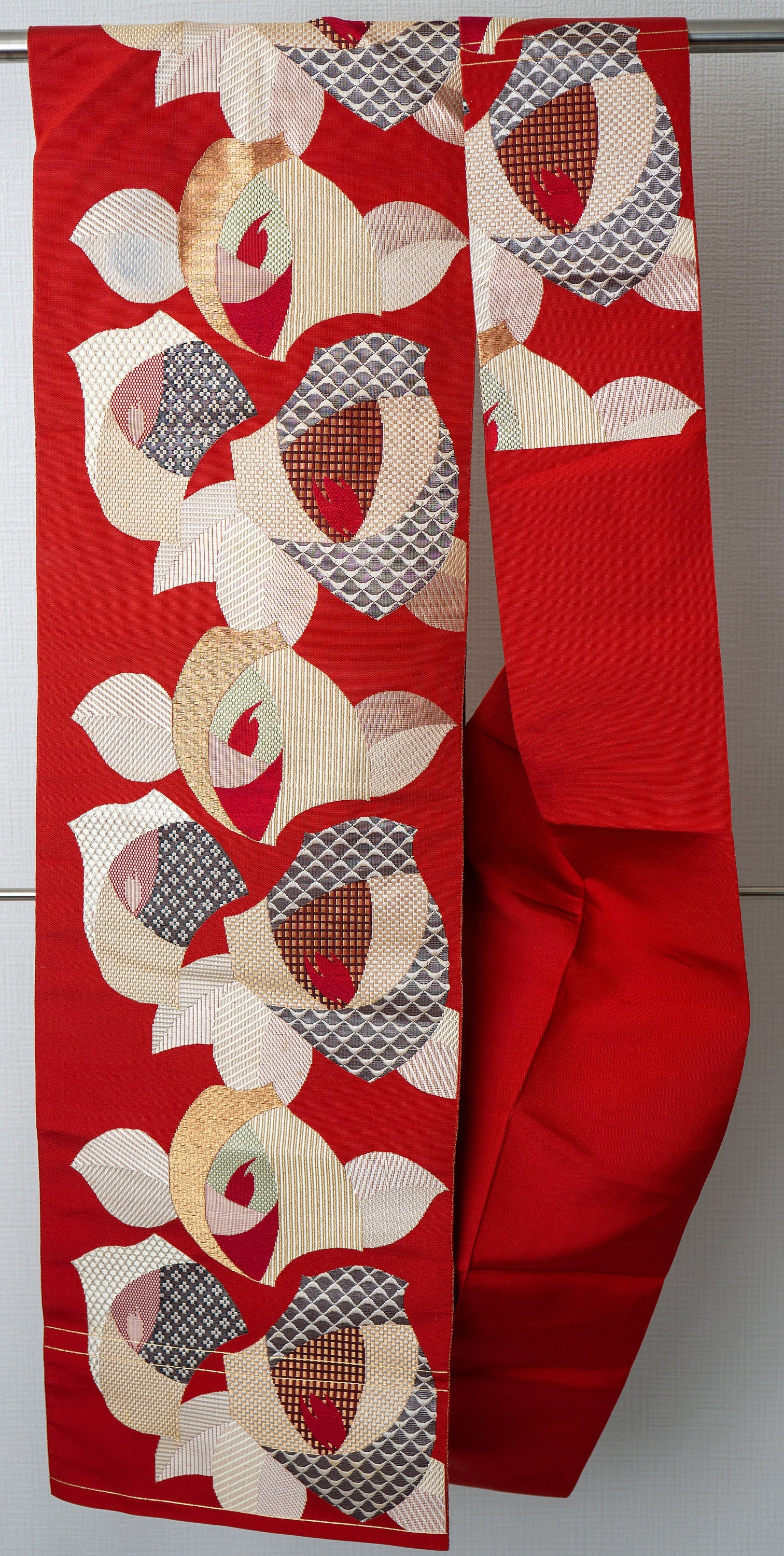 One-Sided Nagoya Obi - Red with Abstract Floral Patterns - Designs Inside of the Leaves and Petals