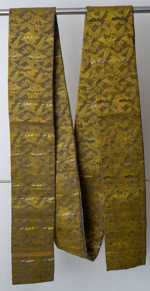 Antique Golden Hanhaba Obi - Very Old Embroidered Kimono Belt - Significant Damage
