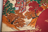 Obi Art Wall Panel - Traditional Village Temples Gold Red - Wall Hanging Tapestry Home Decor
