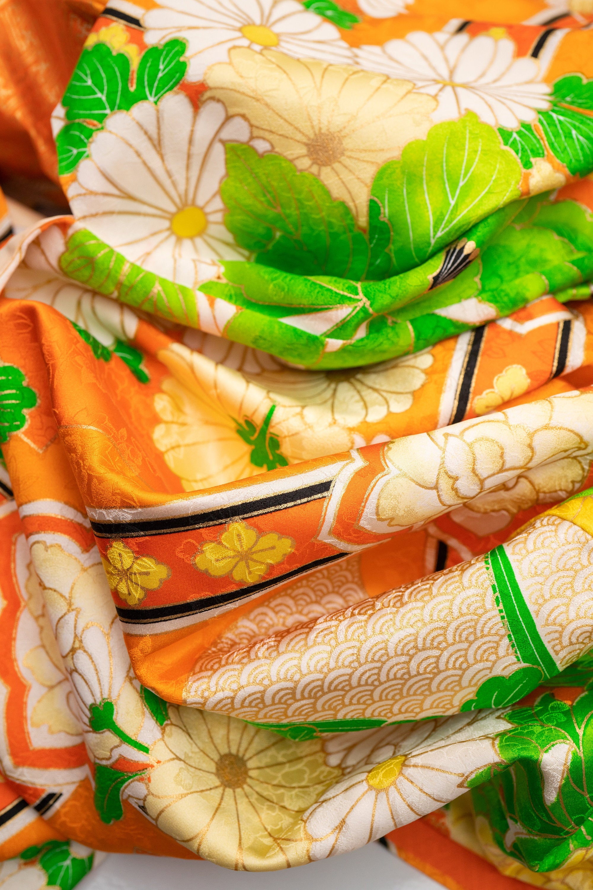 Colorful Neon Orange Green Furisode Very Long Sleeve Silk Vintage Japanese Kimono Traditional