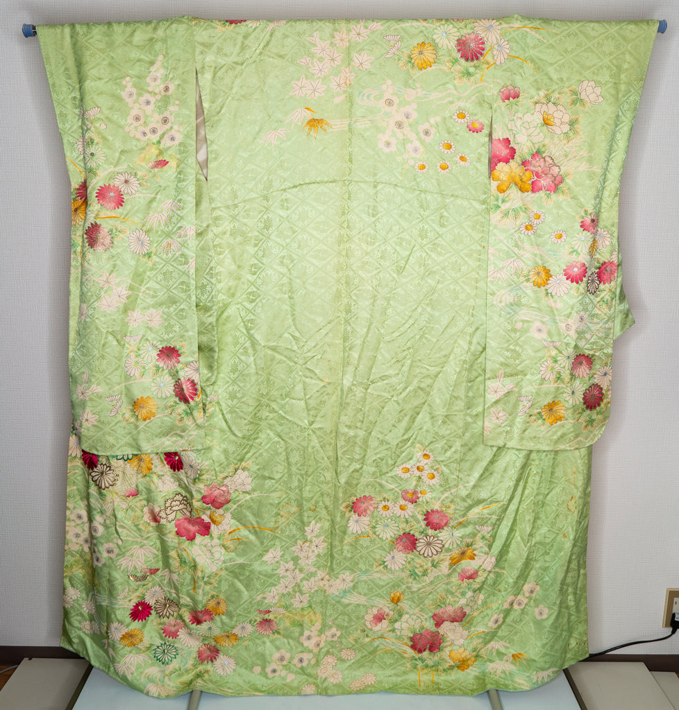 Unused Vintage 1960s Green Silk Furisode - Lightweight Silk - Hand Painted and Embroidered Flowers