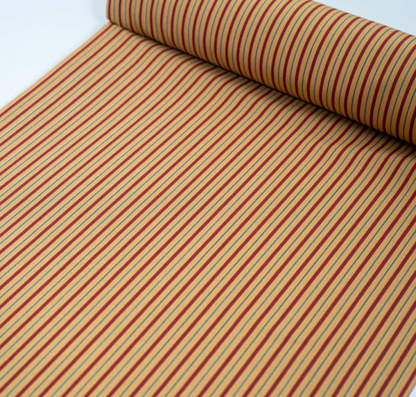 Vintage Kimono Retro Style Fabric Bolt - Red Yellow Striped Washable Japanese Polyester