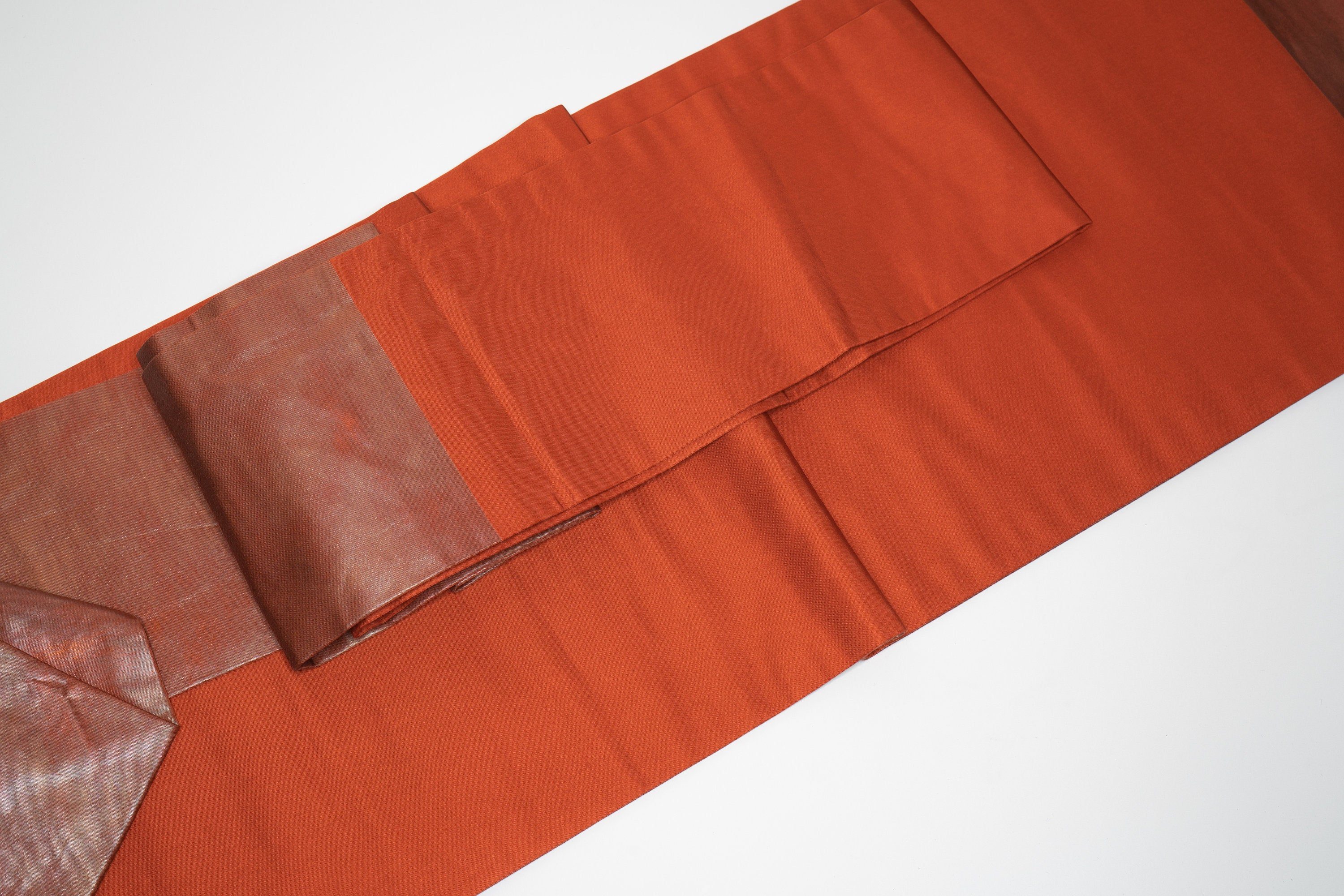 Simple Shiny Reddish Orange Obi - Vintage Traditional Japan Kimono Belt
