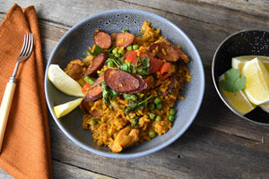 Chicken and Chorizo Paella (D, G)