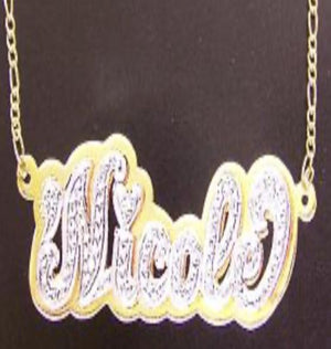 Paved Double Plated Name Necklace
