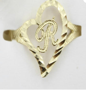 10k Solid Gold Initial Ring