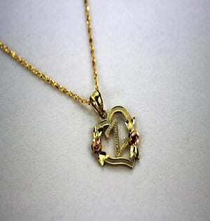 10k Solid Gold Flower & Heart Initial Pendant