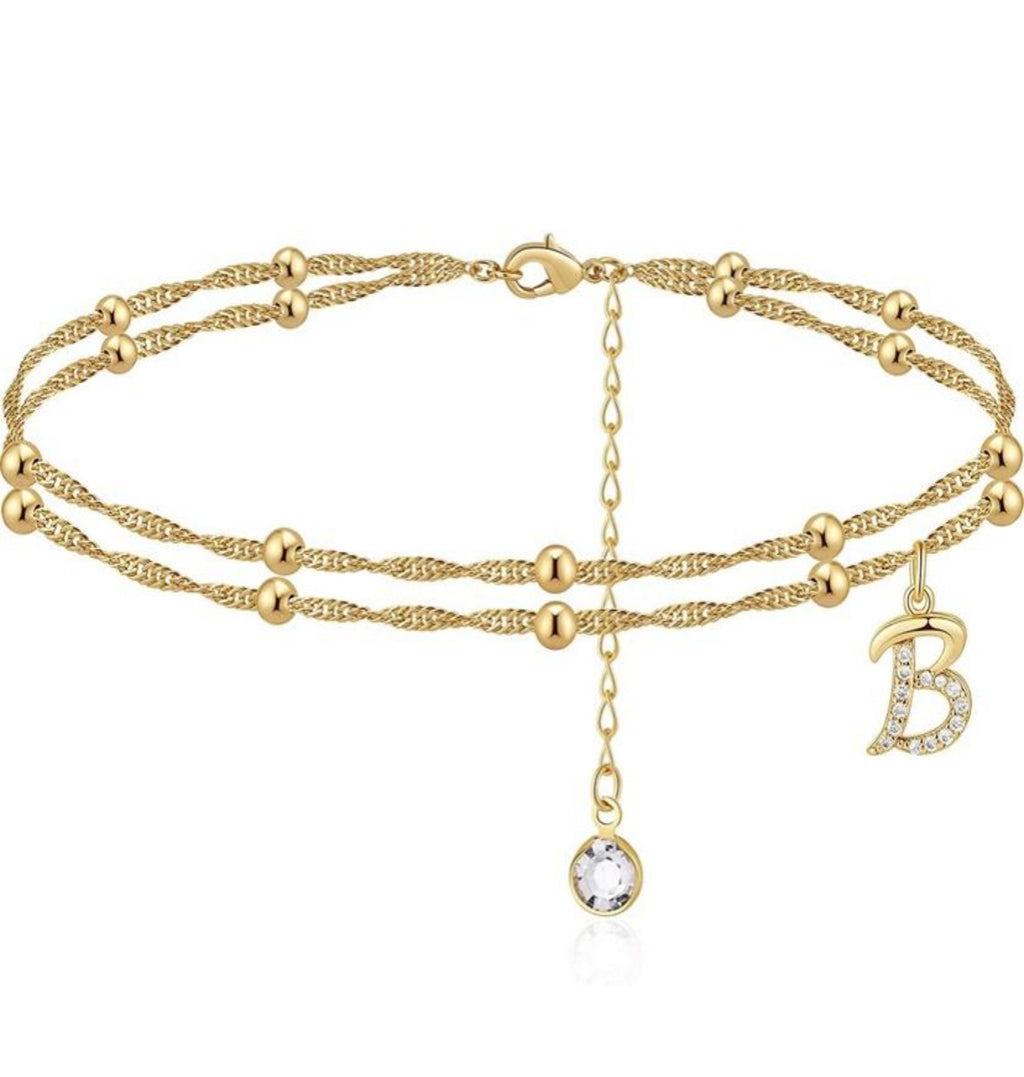 Double Band Initial Anklet