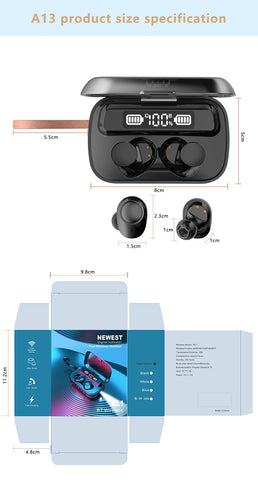 HIFI Waterproof 5.0 Bluetooth Earbuds with Touch Control and Microphone