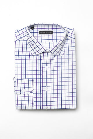 White and Purple with Teal Stripe Shirt _ William Mahoney Brand tall and fit mens - athletic fit button done shirt