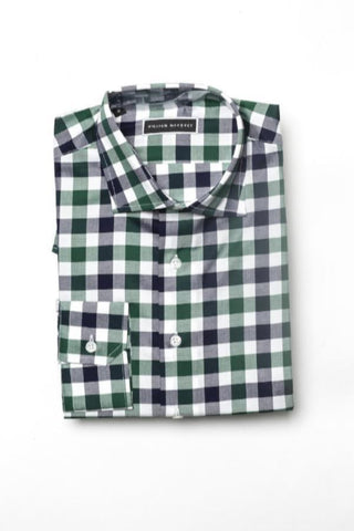 Green and navy blue checkered button down shirt _ William Mahoney Brand tall and fit mens athletic fit button done shirt - tall clothing - tall men - tall apparel - tall shirts