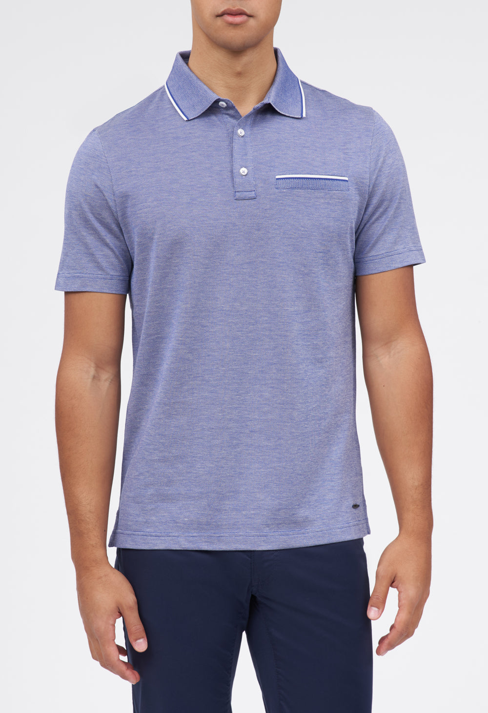 Petter 3-Button Oxford Pique Polo w/ Contrast Collar
