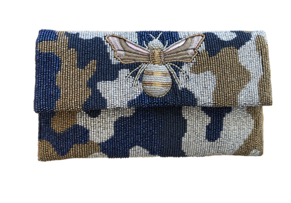 Camo Beaded Clutch with Bee