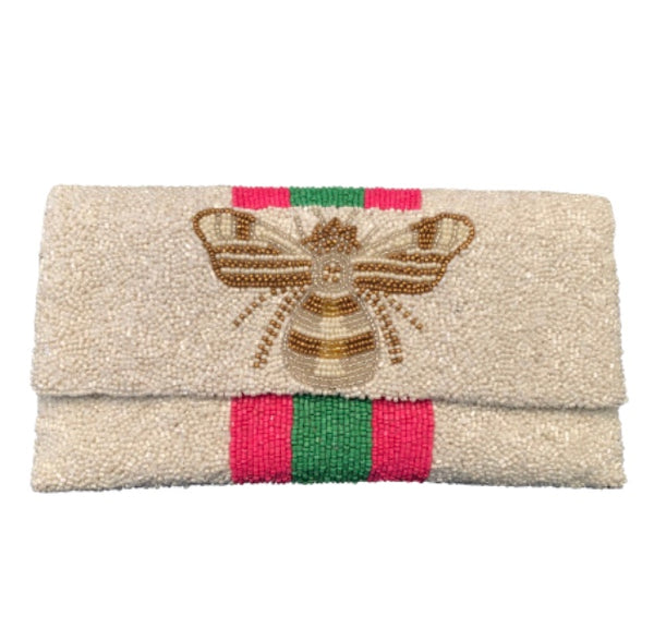 Awning Stripe Ivory Clutch with Bee Detail