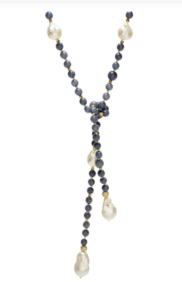 Alice Lariat Blue Agate/Baroque Pearls