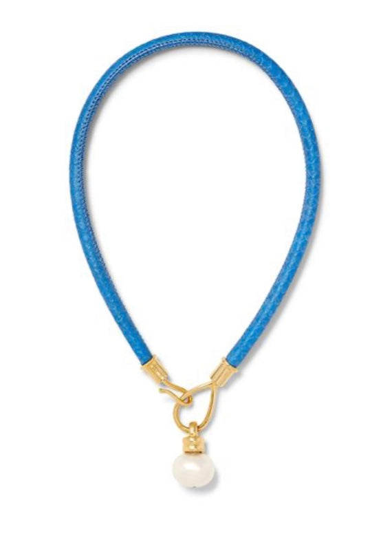 Cornflower Blue Lasso and Pearl Necklace