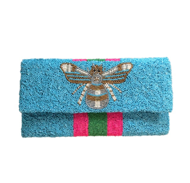 Awning Stripe Beaded Clutch with Bee Detail