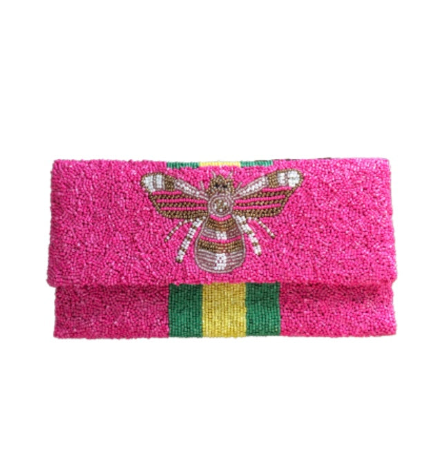 Awning Stripe Pink Clutch with Bee Detail