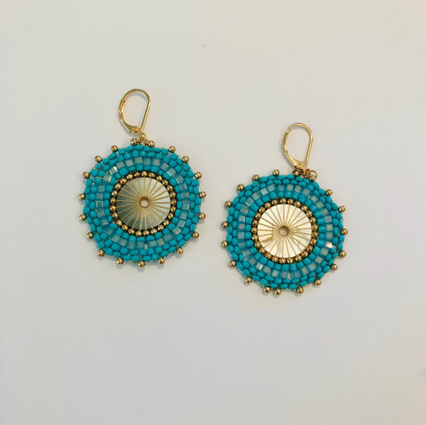 Round Turquoise Beaded Earrings