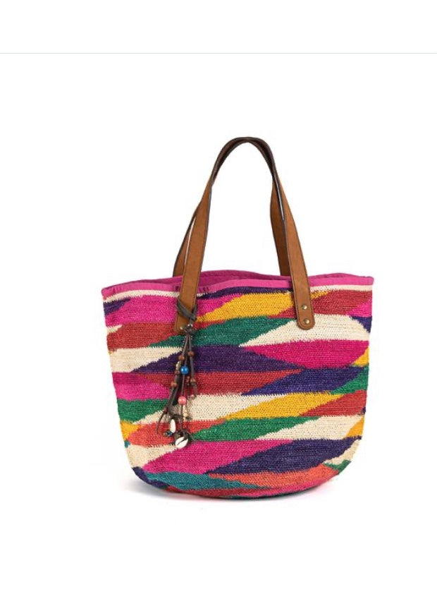 Camila Multi-Color Leather Handle Tote