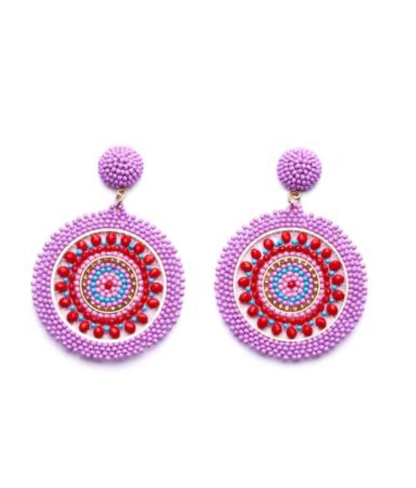 Lavender/Red Beaded Earrings