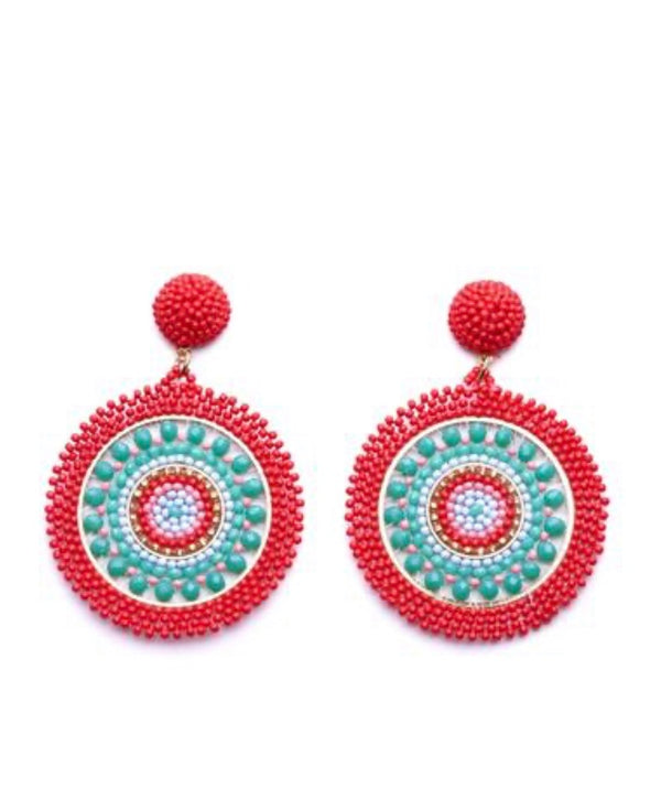 Coral/Aqua Beaded Earrings