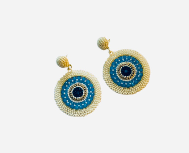 Ivory/Blue Positano Earrings