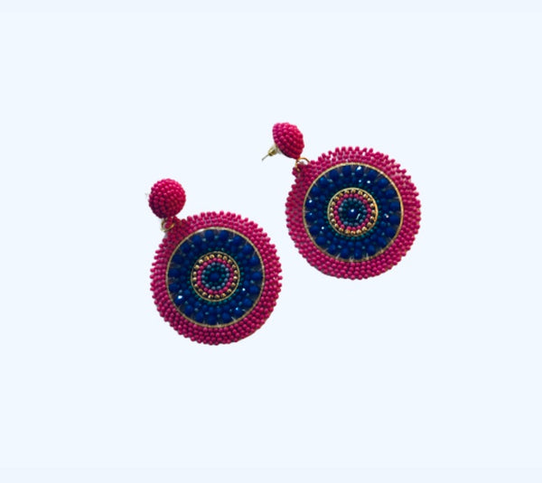 Navy/Pink Beaded Earrings