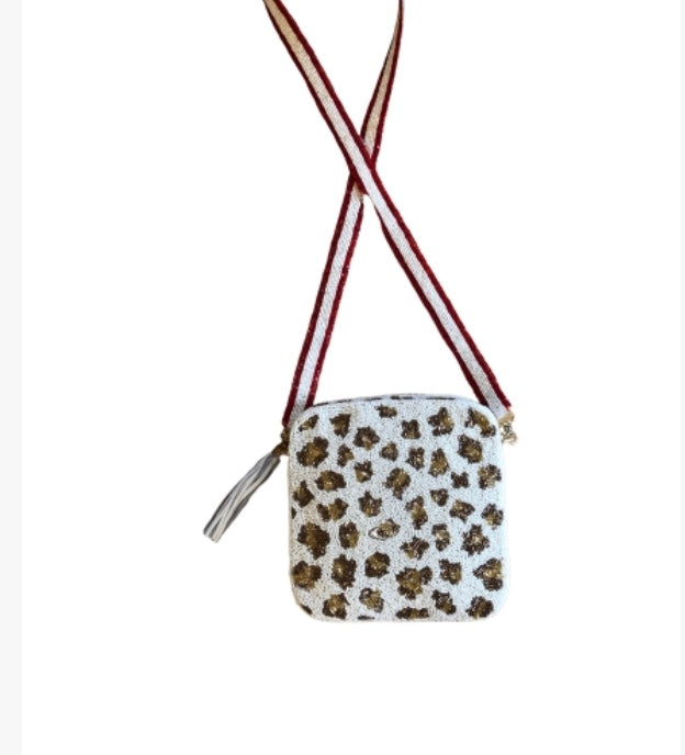 Leopard Beaded Crossbody