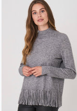 High Neck/Fringed Hem Sweater